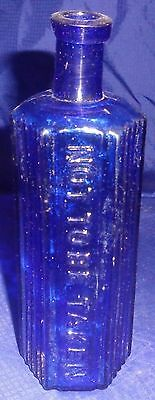 DP088 Antique Cobalt Blue Glass Poison Bottle Not To Be Taken Hexagon Saw Tooth
