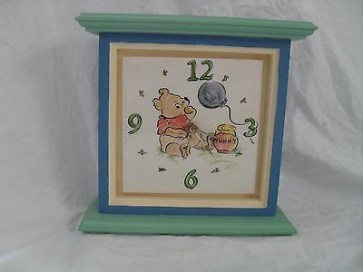 Wood Winnie the Pooh Clock With Tile Face Hand Painted Disney