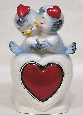 Vtg Relpo Valentine Day Planter Two Bluebirds w Heart Hats #6284