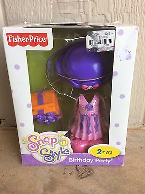 Fisher Price Snap N Style Clothing Outfit Birthday Party Hat Pink Dress Nib