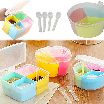Plastic Kitchen Spice Jar Cereal Condiment Seasoning Container Storage With Lids