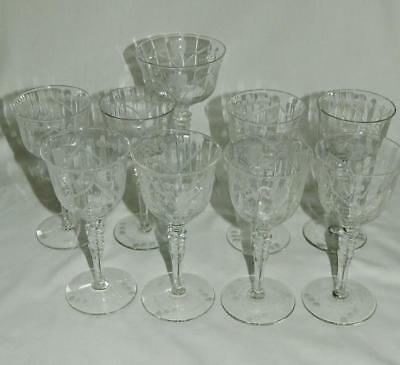 9 pc Libbey Mosque Rose 4 Wine 4 Liquor Cocktail & 1 Champagne Glass Free Ship