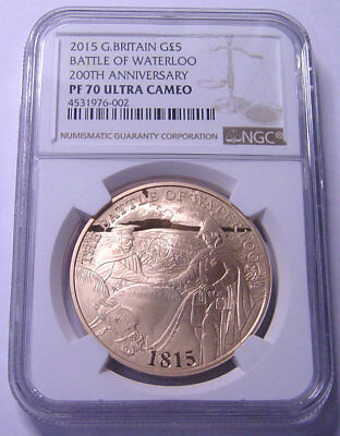 Great Britain 5 Pounds 2015 Gold NGC PF-70UC Battle of Waterloo Mtg:500 only RR