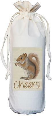 Squirrel - Cheers - Natural Cotton Drawstring Wine Bottle Bag - Gift