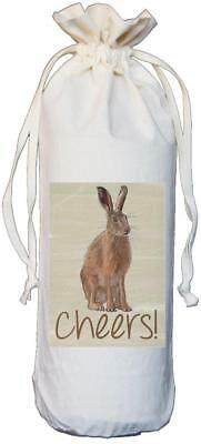 Hare - Cheers - Natural Cotton Drawstring Wine Bottle Bag - Gift