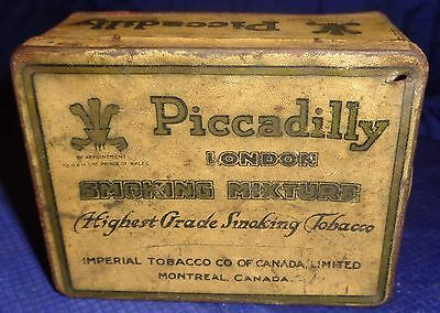 RP1960 Vtg Piccadilly London Smoking Mixture Tobacco Tin Can w/ Hinged Lid