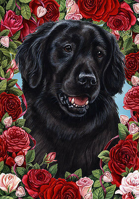 Large Indoor/Outdoor Roses Flag - Flat-Coated Retriever 19076