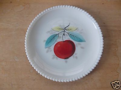 Westmoreland Milk Glass Plate with Apple Design and Beaded Edge