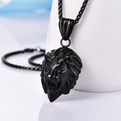 MENS Stainless Steel Rolo Chain Black Lion Head Pendant Necklace Jewellery Gift