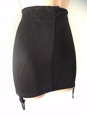 Vintage 80's Guy De France Black Roll On Open Corset Girdle With Suspenders 8-10
