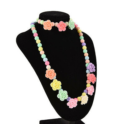 Best Princess Necklace Bracelet Set Jewelry Girls Rose Pattern Gift for Baby TO