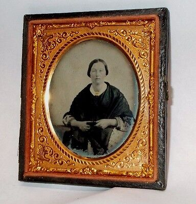 Antique 1/6th Plate 1850`s Ambrotype Photo of Sad Woman Holding a Dag Case