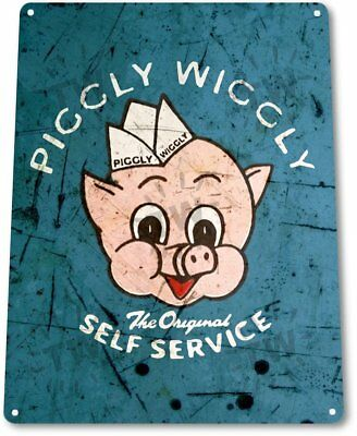 Piggly Wiggly Self Service Vintage Retro Tin Metal Sign