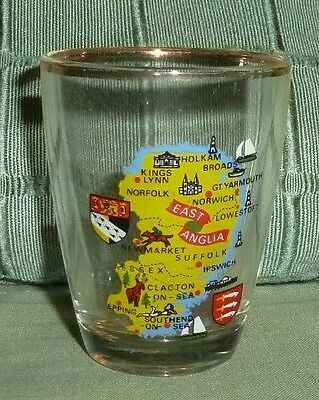 Miniature Glass with EAST ANGLIA Map and a Gold Rim