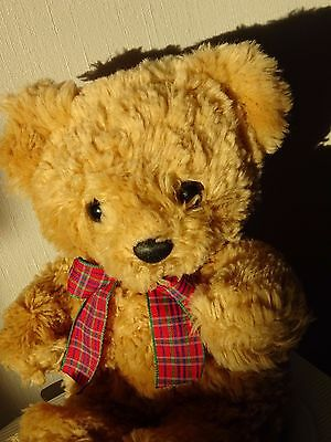 OURS PELUCHE BLOND BEIGE NOEUD ECOSSAIS -  28CM -  RUSS BERRIE & co COLLECTION