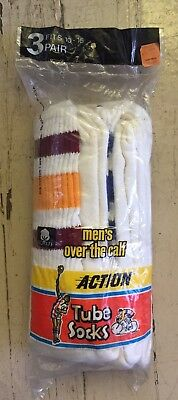 Vtg 70s 80s Over The Calf Men's ACTION TUBE SOCKS Sz 10-15 NOS 3 Pair NEW Poly