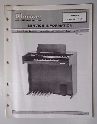 Original Thomas Organ Service Information Artist Model 111