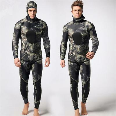 Mens 3mm Neoprene Two-piece Wetsuit Snorkeling Spearfishing Diving Surf SUP Suit
