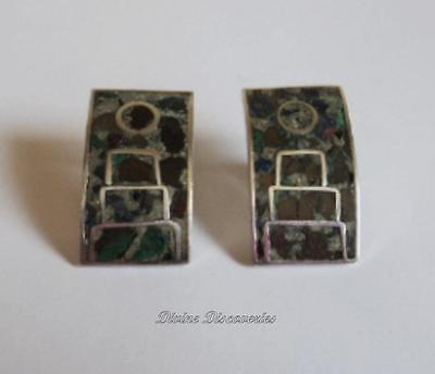 Vintage Sterling Silver Mexico City Screwback Earrings w/Inlaid Turquoise Jasper