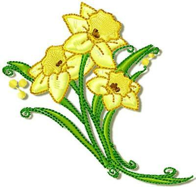Daffodils 10 Machine Embroidery Designs Cd 3 Sizes