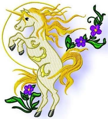 Unicorns And Flowers 10 Machine Embroidery Designs Cd 2 Sizes Included