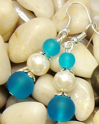 """Turquoise Frosted Sea Glass & Pearl Pierced Earrings 1.8"""" Long **Beach FREE SHIP"""