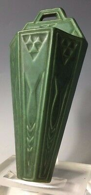 """ROSEVILLE MATTE GREEN 10.5"""" WALL POCKET with geometric designs"""
