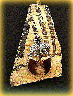 Authentic Old ANASAZI POTTERY SHARD PENDANT NECKLACE Jewelry - Bear accent