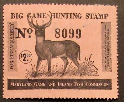 1964 Maryland Big Game Hunting Stamp - Firearms Only - Deer Stamp