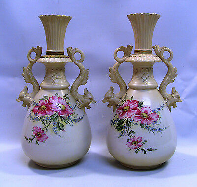 "! c.1897-1918 Pair VERY FINE Bisque Hand Painted ROYAL DUX 13"" Vases, Marked"