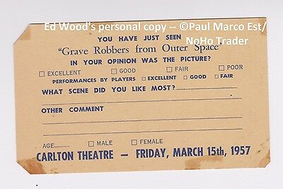 RARE CARLTON THEATRE 1957 PREMIERE ED WOOD GRAVE ROBBERS Plan 9 From Outer Space