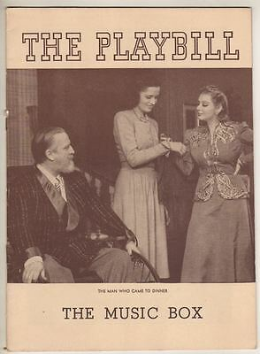 """""""The Man Who Came To Dinner""""  1940   Playbill Monty Woolley"""
