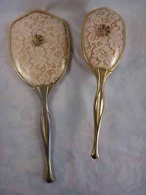 Vintage Ca 1960s Vanity Brush & Hand Mirror Set ~ Filet Crochet Lace Theme