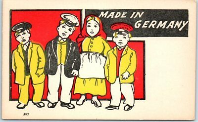 "Vintage Greetings Postcard ""MADE IN GERMANY"" Children Bold Graphics 1900s Unused"