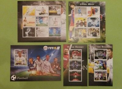 MALI 5 blocs feuillet BF Ronaldo Cristiano Messi Rooney football neuf MNH imperf