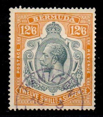 BERMUDA SG93d 1932 12/6 GREY & ORANGE WITH BREAK THROUGH SCROLL VAR USED