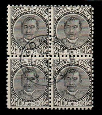 SAMOA SG82 1896 2½d BLACK p11 BLOCK OF 4 USED