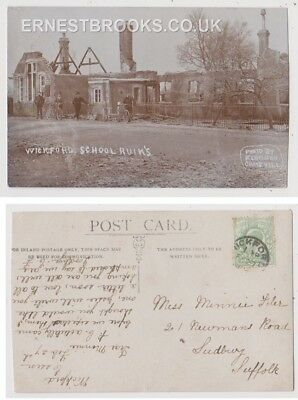 Early Postcard, Essex, Wickford School Ruins - People Outside. 1910 RP