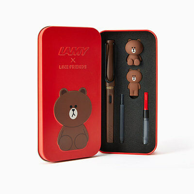 Limited Edition Lamy X Line Friends Brown Fountain Pen in the Red Safari Naver