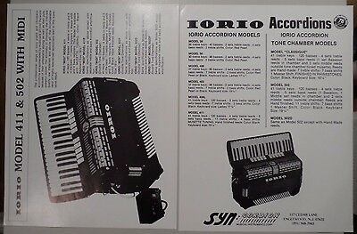 Iorio Model 411 & 502 Accordion w/ MIDI Brochure Flyer+  Syncordian