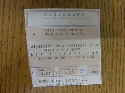 28/09/1988 Ticket: Rotherham United v Manchester United [Football League Cup] En