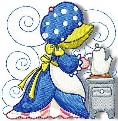 Sunbonnet Tea Time Blocks 12 Machine Embroidery Designs Cd