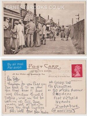 Early Postcard, Essex,Leigh On Sea,The Cockle Sheds, People Outside, 1986