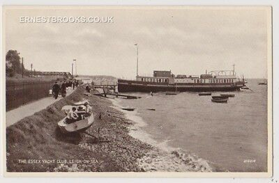 Early Postcard, Essex,Leigh On Sea,The Essex Yacht Club, Boats, People Outside,