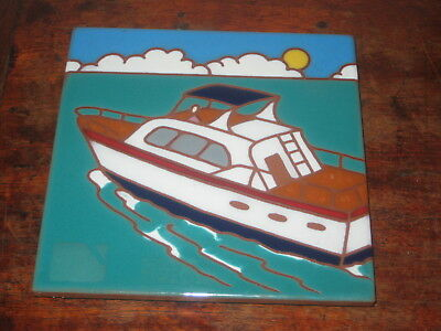 Kenneth & Jacqueline Besheer Art Tile Of A Boat At Sea American