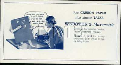 Blotter ~ WEBSTER'S MICROMETRIC CARBON TYPING PAPER ~ 16