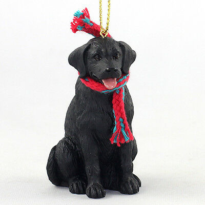 LABRADOR RETREIVER Black Lab puppy dog w scarf ORNAMENT Resin Figurine CHRISTMAS