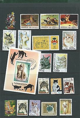 Collection of Cats on stamps (a)