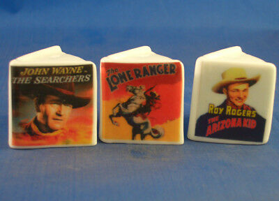 Fine China Thimbles - Set Of Three Miniature Book Style -  Westerns