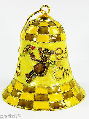 Yellow Cloisonne Copper Enamel Bell,Animals Pattern,Christmas Home Ornament